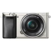 Aparat Foto Digital Sony Alpha 6000, cu obiectiv 16-50mm, 24.3 MP, Filmare Full HD, Zoom optic 3x (Argintiu)