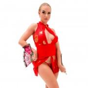 Fantasia Erótica Gueixa Sexy em Musseline Transparente Quimono Vermelho - SP5348