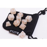 10 Piece Ivory Polyhedral Dice Set - Includes Four Six Sided Dice (D6) and Free Small Dice Bag by Easy Roller Dice Co.