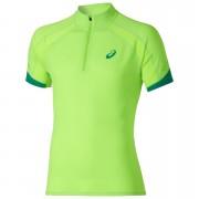 Asics Men's Shorts Sleeve Half Zip Running T-Shirt - Green Gecko - L