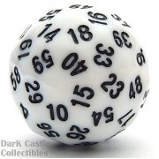 Koplow Games Sixty-Sided D60 35mm Large Gaming Dice Black with White Numbers