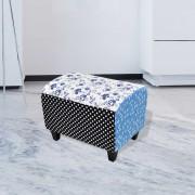 vidaXL Taburet ve venkovském stylu, patchwork s květy a puntíky, modro-bílý