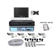 "Kit videosorveglianza DVR 160Gb 4 Telecamere CCD 1200TVL 49led monitor 10"""