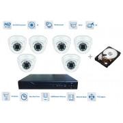 AHD Kamerový set 6x kamera 720P s 30m IR a hybridní DVR + 1TB