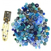Jesse James Beads 9230 Premium Blue Bead Mix - Plus Free 18 Beaded Chain Blue