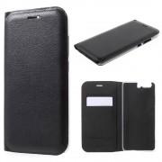 Huawei P10 - Luxe Lyche Flipcover Hoesje - Book Case Cover - Zwart