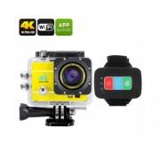 Q3H caméra étanche 4K Sport - Wi-Fi, 16MP, 170 degrés grand angle, zoom numérique 4x, écran LCS 2 pouces (Jaune)