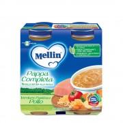 Mellin Pappe complete - Pappa Completa Verdure Pastina Pollo - Confezione da 500 g ℮ (2 vasetti x 250g)
