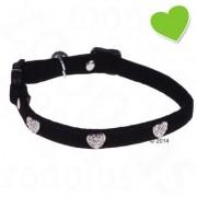 zoolove Kattenhalsband Diamond Hearts - Zwart (L 25 - 32 cm x B 1.1 cm)