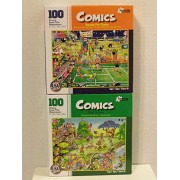 """Bundle of Two """"Comics"""" 100 Piece Jigsaw Puzzles Including: Anyone for Tennis & Golf Safari by Papercity Puzzles (finished puzzle measures 9""""x12"""")"""
