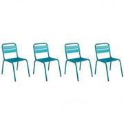 Lot de 4 chaises d'extérieur design aluminium azul ITHAQUE - Miliboo