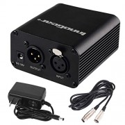 InnoGear 1- Channel 48V Phantom Power Supply with 10 Feet XLR Cable and Adapter for Any Condenser Microphone Music Recording Equipment