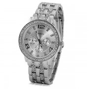 rosegal GENEVA Quartz Watch with Diamonds Round Dial and Steel Watch Band for Women
