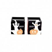Mécsestartó szellem fa 8x8x9cm fehér-narancs-fekete 1 db.