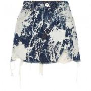 River Island Womens Mid Blue bleach spot denim mini skirt