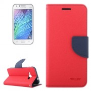 Cross Texture Contrast Color Style Leather Case with Holder & Card Slots & Wallet for Samsung Galaxy J1 Ace / J110(Red)