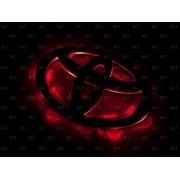 Эмблема со светодиодной подсветкой Toyota красного и белого цвета «148x102»