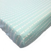One Grace Place Puppy Pal Boy Changing Pad Cover Powder Blue and White