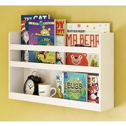 Children's Kids Room Wall Shelf Wood Material Great For Bunk Bed Nursery Room Books and Toys Organization Storage (White)