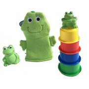 Frogs! Splash and Squirt Bath Toy Bundle - Three (3) Items - Includes Frog Bath Puppet Mitt, One Set
