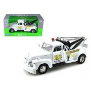 "1953 Chevrolet Tow 3800 Truck White ""Road Service"" 1/24 by Welly 22086WMJ-WHWD"