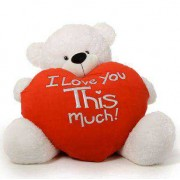 Giant 5 feet white Teddy Bear with a Huge Heart