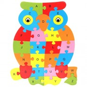 Magideal Set of Wooden Owl Alphabet Puzzle Brain Teaser Toy Kids Alphabets Color Educational Gift Multicolor