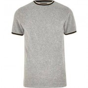 River Island Mens Grey tipped crew neck towelling T-shirt
