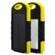 Acumulator extern solar 8000mAh, 2 USB, Lanterna, Yellow