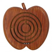 Indian Wooden Ball in a Maze Puzzle Handheld Dexterity Game for Kids, Apple Shape,Size: 12.7 CM