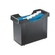 Függőmappa tároló, műanyag, 5 db függőmappával, LEITZ Plus, fekete