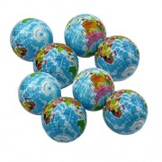 Squeezable Stress Ball 12 Pack - Tension Relief Activity Balls Set of 12 - Pressure Relieving Health Balls - Therapeutic Relaxing Squeeze Ball Pack of 12 Globe Pattern Balls