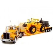 Kenworth W900 Low Boy Trailer Truck with Bulldozer 1:32 Scale by Toys Drop