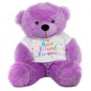 Purple 2 feet Big Teddy Bear wearing a Best Friend Forever T-shirt