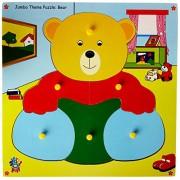 Skillofun Wooden Jumbo Theme Puzzle Teddy Bear Knobs, Multi Color
