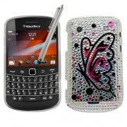 Samrick Coque avec protecteur d'écran, tissu en microfibre et stylet argenté pour BlackBerry Bold Touch 9900 et 9930 Motif papillons en strass Argent et rose