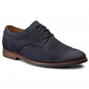 Обувки CLARKS - Broyd Wing 261241287 Navy Suede