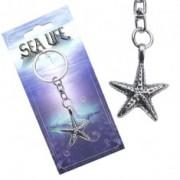 Kulcstartó, ezüst szín, tengeri csillag fémötvözetből