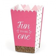 Fun to be One - 1st Birthday Girl Party Popcorn Boxes - Set of 12