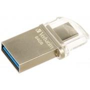 Stick USB Verbatim OTG Micro, 64GB, USB 3.0 (Argintiu)