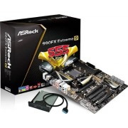 ASRock 990FX Carte mère Extreme9, AMD 990FX, DDR3, S-ATA 600, ATX, 4x PCI Express 2.0 x16, 7.1 HD Audio, Socket AM3+