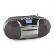 auna Jetpack, szürke, hordozható boombox, USB, CD, MP3, FM, elemekkel üzemeltethető (MG-Jetpack-C)