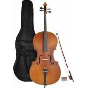 B-Stock Steinbach 1/8 Cello für Linkshänder im Set handgearbeitet satiniert Cello Steinbach Celli Massiv satiniert Cello Linkshänder 1/8 Linkshändercello Streichinstrument Bogen Gigbag Hartholz Celloset SC-10018 LH Linkshändler Linksheandler