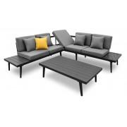 MobilierMoss Sofá de ángulo de jardín + mesa de centro de aluminio - Piaxa
