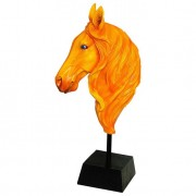 Escultura Busto Cavalo Laranja Fullway 72x34x19