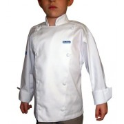 Chefskin Long Sleev Jacket + White Apron+ White Hat Baby Toddler Kid Children Chef Set Lite Fabric
