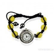 Náramek s hodinkami Shamballa LSB0018 žlutý