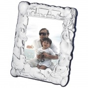 Babies Photo Frame, Embossed Train & Toys, Sterling Silver