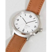 Mondaine Helvetica Bold Leather Watch In Brown 43mm - Brown (Sizes: )