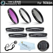 72mm Essential 7 Piece Filter Kit Bundle For Nikon D610 D600 Digital SLR Camera (That uses 24-24-85mm f/3.5-4.5G ED VR Lens) Includes 72mm Multi-Coated 3 PC Filter Kit (UV CPL FLD) + Close Up Kit +1 +2 +4 +10 + Snap-On Lens Cap + lens Cap Keeper + More
